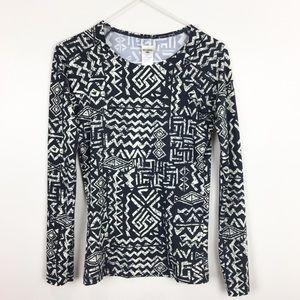 Billabong Top Black White Size S Long Sleeves